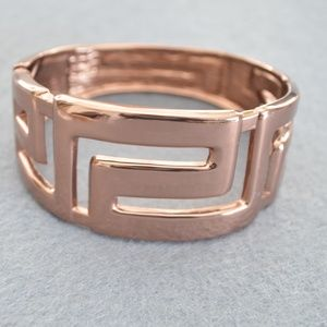 Jewelry - Greek Key Pattern Rose Gold Wide Bangle